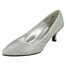 Anne Michelle F9811 Ladies Silver Diamante Kitten Heel Occasion Shoes UK 7 Euro 40