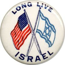 Circa 1967 Six Days War LONG LIVE ISRAEL United States Flags Button (4446)