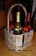 Flaschenkorb für 4 Flaschen Korb Wasserhyazinthe Metall VERSANDKOSTEN FREI