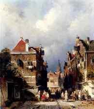 Leickert Charles Henri Joseph A Dutch Street Scene A4 Print