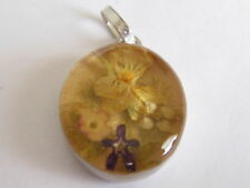 vintage sterling charm-oval flowers in bubble