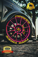 "Permanent Tire Lettering TOYO TIRES PROXES Yellow 14""-24"" STICKERS 1.25""4 TIRES"