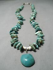 BEAUTIFUL VINTAGE NAVAJO GREEN TURQUOISE STERLING SILVER NECKLACE OLD