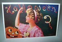 Halloween Postcard Wall 1908 Embossed Art Women JOL UNUSED Original Antique