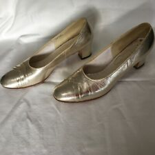 Vintage 50s 60s Westbrook Ladies All Leather Gold Court Pump Shoes Sz 9