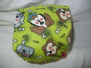 "Dog Puppy Belly Band Wrap Contour Diaper Male Puppy Flannel line 17"" GREEN DOGS"