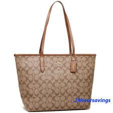 New COACH Khaki Saddle Leather Signature City Zip Tote Shoulder Handbag F58292