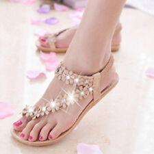 Womens Summer Rhinestones Slippers Sandals Flower Flip Flops Beach Shoes TM
