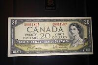 1954 $20 Dollar Bank of Canada Banknote BW9611807 VF 20