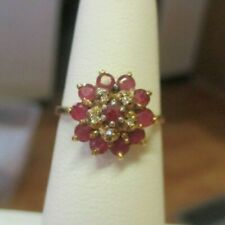 14K Yellow Gold Ruby & Diamond Cluster Ring Size 5.75