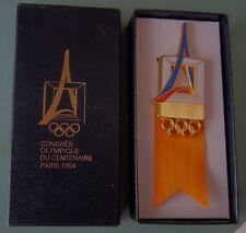 1994 PARIS 12th OLYMPIC IOC CONGRESS TV MEMBERS BADGE PIN ORIGINL BOX
