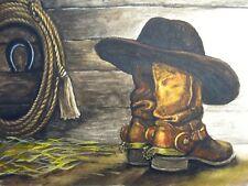 Painting Cowboy Hat Old Boots Lasso Farm 5x7 Art