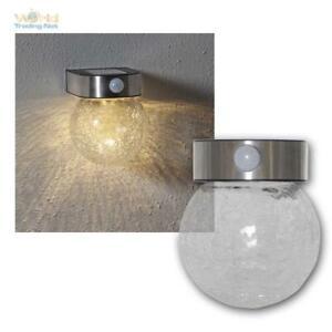 LED Solar-Wand-Leuchte Glory Warm White, Motion Sensor & Timer, Crush-Glas-Kugel