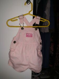 Vtg OshKosh B'Gosh pink floral overalls Baby size 6/9 MO made in USA 80s/90s
