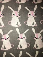 White Bunnies On Gray Fabric Scrap Quilt Sew