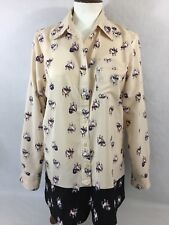 Ellen Tracy Size S Long Sleeve Button Down Hipster French Bulldog Shirt Blouse