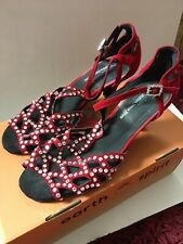 Watkins Dance Shoe Ballroom Latino Red Velvet Strappy Size 4.5