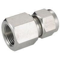 ACERO INOXIDABLE 316 DOBLE CASQUILLOS - HEMBRA ISO Conector 1/4 Od 1/8 BSPT