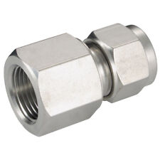 ACERO INOXIDABLE 316 DOBLE CASQUILLOS - HEMBRA ISO Conector 1/4 Od 1/8 BSPT