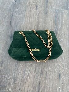 Vintage emerald green golden chain bag