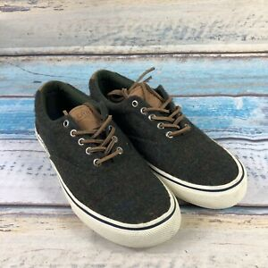 Sperry Striper II CVO Wool Plaid STS19812 Casual Shoes, Men's Size 8.5 Olive