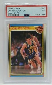 1988 Fleer Basketball Rookie #127 - PSA NM 7 - JOHN STOCKTON - Utah Jazz RC