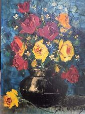 Rafael Yela De Cangas (Spain 1922 - ) Oil on Canvas Spanish Floral Painting
