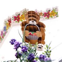 Bear Greeting Card Nature 3D Pop Up Cards Happy Birthday Card Gifts Handmade