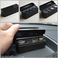 1x Black Car Coins Storage Box Piggy bank Organizer Change Holder Dash Container