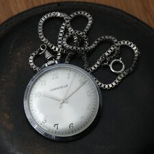 1973 Swiss Made Caravelle Mechanical Wind Up Vintage Pocket Watch On Chain Runs