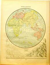 Beautiful Original 1899 Eastern Hemisphere Large Color Map/10x14