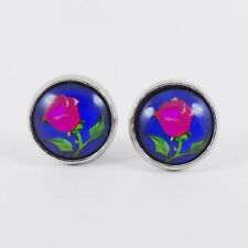 BEAUTY AND THE BEAST ROSE STUD EARRINGS Stained Glass Window Belle Disney Theme