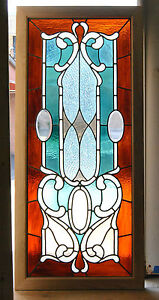 Victorian Stained and Beveled Leaded Glass Window in Aqua and Rootbeer
