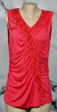 GRACE ELEMENTS Coral Red Sleeveless Top XL Ruched Ruffle Accent in Front