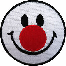 Smiley Face Patch Iron On Badge / Sew On Embroidered Biker Red Nose Clown Circus