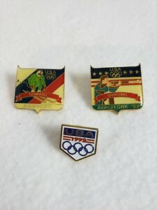 Vintage Olympic 1992 Barcelona Albertville USA Pins Shooting & Downhill Lot of 3