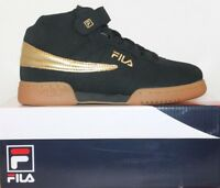 Boys Girls Kids Fila F13 Mid High Top Casual Retro Basketball Shoes Black Gold
