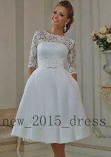 Custom Half Sleeve Short Wedding Dresses Lace Bridesmaid Party Prom Evening Gown