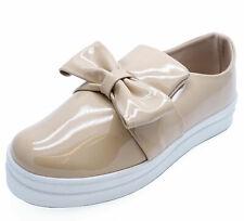 Damas Beige Patent Plano Sin Cordones Plataforma Zapatos Cómodos bombas de arco Plimsolls UK 3-8