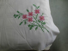 """FLORAL STAMPED Cross Stitch OFF-WHITE PLAID DESIGN 58x98"""" Tablecloth to Complete"""