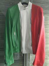 Dirk Bikkembergs Jacket Leather Three Colour Coat Italy Flag Moto Biker Bike