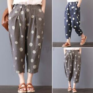 ZANZEA Womens Casual Loose Elastic Waist Pockets Dot Print Pants Ladies Trousers