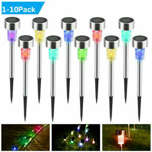 10/1PCS Multicolor Solar LED Outdoor Path Light Spot Lamp Garden Lawn Landscape