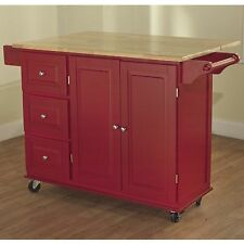 Red Kitchen Cart w Storage Wood Drop Leaf Island Serving Table Cabinet Utility