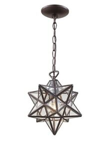 Trans Globe PND-2108 1-Light Bronze Star Pendant with Clear Glass