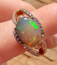$2,450 Certified 14k Solid Rose Gold Fire Ethiopian Opal Ring 1/2 Ct Diamonds