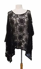 STUNNING lace crochet black cotton poncho - one size regular UK 10-16  NEW