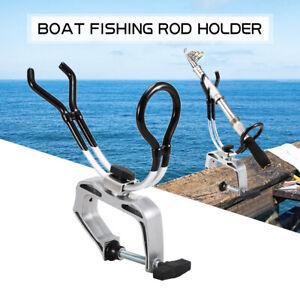 Fishing Rod Pole Rest Universal Boat Deck Kayak Clamp On Holder Adjustable UK WF