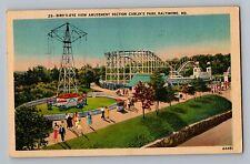 Baltimore Maryland MD Carlin's Amusement Park Roller Coaster Linen Postcard 1947