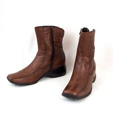 Clarks Brown Leather Ankle Boots Ladies Mia Size 10 M Made in Romania EU 40.5